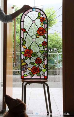 Stained Glass Fireplace Screen, Antique Stained Glass Windows, Stained Glass Flowers, Faux Stained Glass, Stained Glass Designs, Stained Glass Panels, Stained Glass Projects, Stained Glass Patterns, Painted Glass Vases