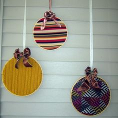 Recycled Sweater Ornament Decor using Embroidery Hoops.  Brilliant. by phyllis