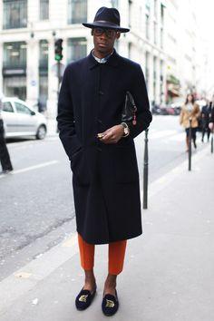 Long Coat x Orange Pants men's fashion