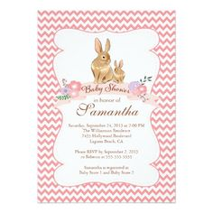 Cute Bunny Rabbit Girl Baby Shower Invitations