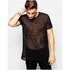 ASOS Men's Longline T-Shirt With Mesh In Relaxed Skater Fit