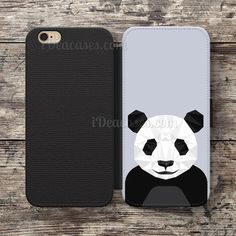 Panda Geometric Wallet Case For iPhone 6S Plus 5S SE 5C 4S case, Samsung Galaxy S3 S4 S5 S6 Edge S7 Edge Note 3 4 5 Cases