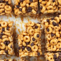 No-Bake Peanut Butter Cereal Bars Recipe Desserts, Lunch, Snacks with creamy peanut butter, honey, Honey Nut Cheerios Cereal, semi-sweet chocolate morsels