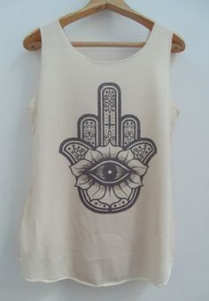 HAMSA HAND Shirt Hand of Fatima Shirts Tank top Pop Punk Rock Tank Top Vest Women T shirt Unisex T-Shirt SizeS,M,L on Etsy, $15.00