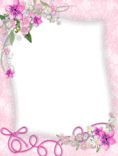 Transparent Pink PNG Frame with Flowers.
