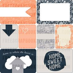 FREE Home Sweet Home Journaling Cards from Freescrapbookdownloads