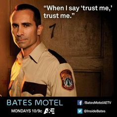 #GETincBatesMotel #Bates Motel..................................jack....a.......bleeding...........nory........I would trust you as far as I could throw you..and I don't throw people..........lol