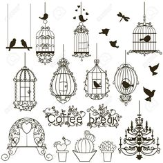 Vintage Birds And Birdcages Collection. Isolated On White. Clipart... Royalty Free Cliparts, Vectors, And Stock Illustration. Pic 10723284.