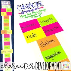 Character Development:  Putting Character Traits into sequential order to see how the character changed throughout the story