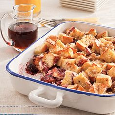One-Dish Blackberry French Toast | Blackberry jam and cream cheese add a delicious twist to this simple French toast dish. | #Recipes | SouthernLiving.com