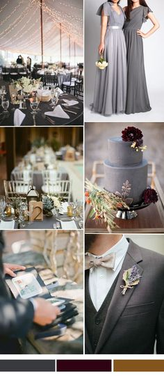 charcoal grey and marsala wedding color combo ideas 2015