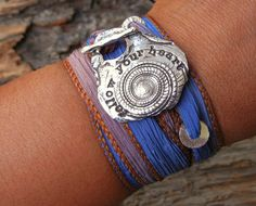 follow your heart - Inspirational Quote Jewelry, Silk Wrap Bracelet, copyright by HappyGoLicky, $49.50 Use 10% of coupon code PIN10 on www.HappyGoLickyJewelry.com