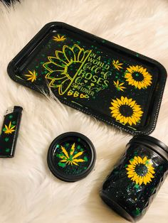 Excited to share this item from my shop: Sunflowers Rolling Tray Medical Tray makeup tray set of Tray, jar and lighter. In a world full of Roses, be a sunflower. Name included Stoner Room, Stoner Art, Glass Pipes And Bongs, Glass Bongs, Stoner Gifts, Weed Art, Herbs, Ganja, Bears