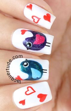 Cute love bird nails for valentine's day, or just cute for anytime.