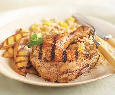 Grilled Tandoori-Style Chicken and Mangoes with Mango Jasmine Rice    Read More http://www.epicurious.com/recipes/food/views/Grilled-Tandoori-Style-Chicken-and-Mangoes-with-Mango-Jasmine-Rice
