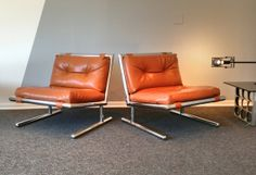 Vintage Danish Modern Chromed Lounge chairs. Milo Baughman style knoll mid century modern eames era on Etsy, $1,395.00