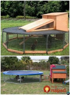 Chicken Coop - - DIY Trampoline Chicken Top Trampoline Hacks Building a chicken coop does not have to be tricky nor does it have to set you back a ton of scratch. Portable Chicken Coop, Backyard Chicken Coops, Chicken Coop Plans, Building A Chicken Coop, Diy Chicken Coop, Chickens Backyard, Old Trampoline, Backyard Trampoline, Trampoline Games