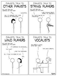 Pianists talking to different musicians