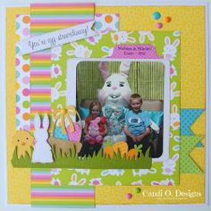 Cute Bunnies Premade Scrapbook Pages Easter EZ Layout 4658