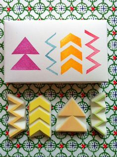 hand carved rubber stamps by talktothesun. shape + pattern stamp series for your diy crafts. about - double triangle. Clay Stamps, The Block, Handmade Stamps, Fabric Stamping, Tampons, Ink Pads, Printing On Fabric, Chevron, Hand Carved