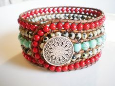 Marily's Leather Cuff Bracelet Southwest Turquoise Jewelry Red and Turquoise Cuff