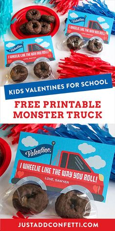 Looking for creative and unique kids valentines for school and classroom parties? I've got you covered with this free printable monster truck valentine printable! These DIY valentines are so easy to assemble. Just pair the free printable truck with two chocolate donut tires! So adorable and delicious too! #kidsvalentines #kidsvalentinescards #freeprintable #printablevalentine #JustAddConfetti