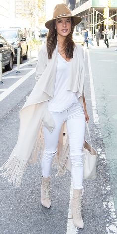 7 A-List Looks That Prove It's Possible to Wear White Jeans in the Winter - Alessandra Ambrosio from InStyle.com