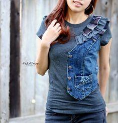 Not the vest part, but I do like the idea of the denim ruffles.  комбинированное вязание...what he said...