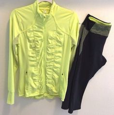 NEW KYODAN ACTIVE WEAR WOMEN'S JACKET/CAPRI PANT SET NAVY BLUE/NEON YELLOW~M  #Kyodan #ActivewearJacketCapripants