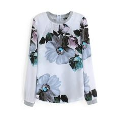 Floral Print Round Neck Long Sleeve Zip Back T-Shirt (48 NZD) ❤ liked on Polyvore featuring tops, t-shirts, beautifulhalo, bhalo, blouses, floral print tee, floral print tops, blue top, floral t shirt and round neck tees