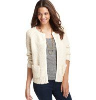 """Chunky Open Sweater Jacket - Check off cute and cozy in one piece—this chunky sweater jacket (with chic piping) is an """"in-between day"""" must-have. Crew neck. 3/4 sleeves. Open front. Patch pockets. Contrast trim at neckline, placket and pockets."""