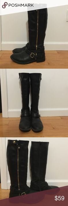 """Dolce Vita """"Clarity"""" black boots  - like new!! Tall black faux leather boots with gold accents and inner zipper. Super cute and will add style to any outfit! Great tread on shoes, good for winter. Lightly used, like new.  - Approx. 15.5"""" shaft height, 14.5"""" opening circumference - Approx. 1.25"""" heel, 0.5"""" platform Dolce Vita Shoes Combat & Moto Boots"""