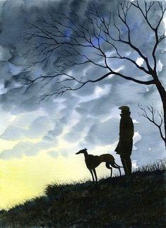 Greyhound Tattoo, Greyhound Art, Dog Paintings, Landscape Paintings, Large Painting, Painting & Drawing, Tatoo Dog, Whippet Dog, Lurcher
