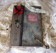 Gothic Wedding guestbook  shabby chic by youruniquescrapbook, £59.95