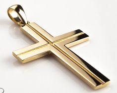 Solid Gold Cross Necklace Gold Cross Pendant Necklace for Men Orthodox Cross Pendant Mens Gold Cross - Bloom Jewellery Cultured Pearl Necklace, Gold Pendant Necklace, Men Necklace, Cross Jewelry, Cross Necklaces, Gold Chains For Men, Black Gold Jewelry, Gold Cross, Cross Pendant