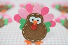 Set of 6pcs handmade felt turkeychocolate/baby pink by AsecInc