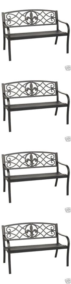 Benches 79678: Outdoor Patio Garden Park Bench Furniture Antique Metal  Finish Backyard Iron New
