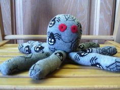 Large Halloween soctopus (sock octopus) Spiders and cobwebs pattern £10.00