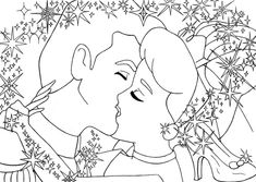 kiss Cinderella+Prince lineart by ~lizzzy-art Tinkerbell Coloring Pages, Disney Coloring Sheets, Cinderella Coloring Pages, Star Coloring Pages, Princess Coloring Pages, Printable Coloring Pages, Coloring Books, Adult Coloring, Apple Images
