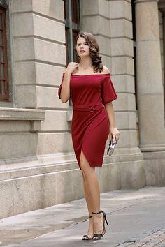 976d877ace UP Plus Size Womens Knit Off Shoulder Dress Tulip Cut Hem