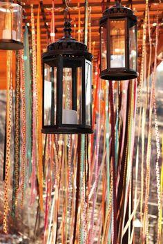 DIY WEDDING IDEAS: SIMPLE HANGING DISPLAYS & DECOR | Ribbon curtain | lanterns for boho, gypsy, backyard, and bugdet weddings