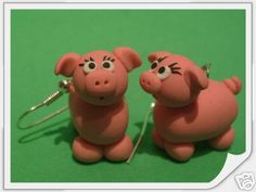 Fun HandMade Fimo Pink Pig Earrings Gift Farm Animal | eBay