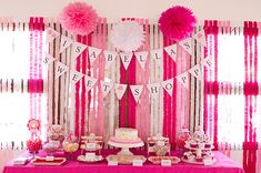 Two shades of pink + White ruffled streamers + Bunting= Easy Adorable 1st birthday Party Decor! (Printables by Chickabug)