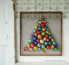 ornament tree on an old screen