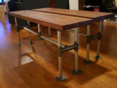 industrial modern pipe benches