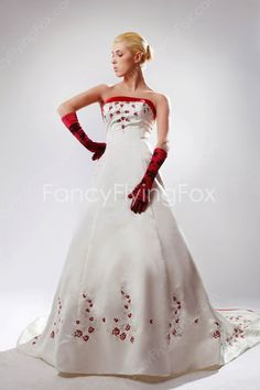 fancyflyingfox.com Offers High Quality Red And White Satin Strapless Neckline A-line Full Length Bridal Dresses With Embroidery Flowers ,Priced At Only US$235.00 (Free Shipping)