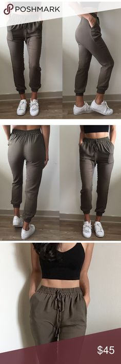 """Catalina Ankle Pant Jogger in Olive"" •Color- Olive (Also available in Black) •100% Rayon •Light and Comfortable Ankle Pant Jogger •Tie at waist- does not adjust the tightness around waist •Elastic waist and ankle  •Pockets •Modeled on a size Small •Prices are firm unless bundled  •My stats- Chest: 34B Waist: 25 Height: 5'5  BUNDLE and save 10% on 3+ items! Boutique  Pants Track Pants & Joggers"