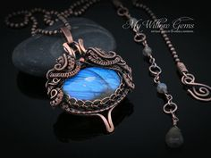 Wire Wrapped Blue Flash Labradorite Necklace by MyWillowGems
