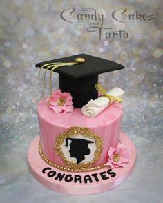 Pink &Gold Graduation Cake by Eman Sobhy