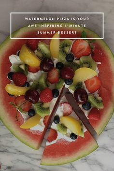 Assemble a watermelon pizza with fresh fruit and yogurt and behold summer on a plate.